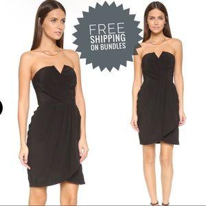 New Yumi Kim Strapless Black Wrap Cocktail Dress